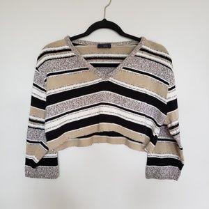 Vintage // striped v-neck crop top